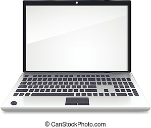 Front view of the laptop is blank screen on white