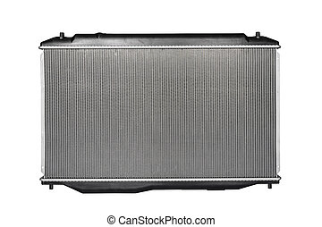 Front view of the new auto radiator isolated on white background.
