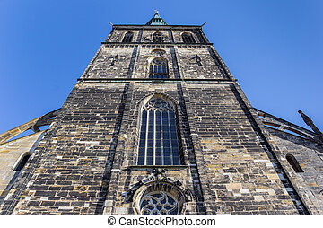 Front view of the St. Andreas church of Hildesheim, Germany
