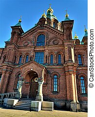 Front view of the Uspenski cathedral in Helsinki