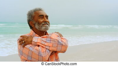 Front view of thoughtful active senior African American man ...