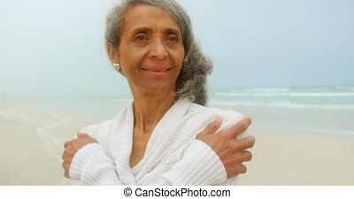 Front view of thoughtful active senior African American ...