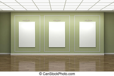 Front view of three large vertical posters on wall in a gallery. 3d illustration