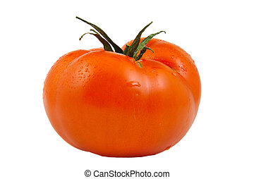 Front view of tomato isolated on white background.