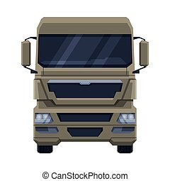 Front View of Truck, Cargo Freight Delivery Semi Truck Flat Vector Illustration