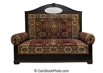 Front view of Turkish vintage Sofa isolated on White