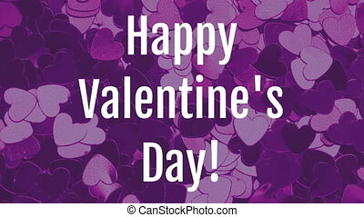 Valentines day animation with dynamic heart purple background