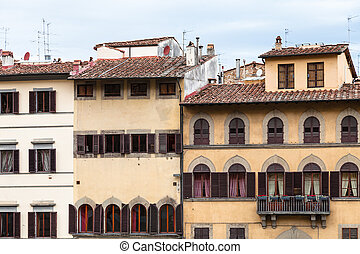 front view of various medieval houses in Florence