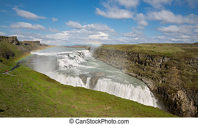 Waterfall Gullfoss, Iceland - Front view of Waterfall...