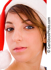 front view of woman in christmas hat