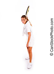 front view of woman playing tennis