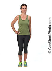 front view of woman with sportswear on white background,