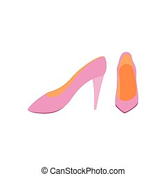Front view of women high heels fashion shoes flat vector illustration isolated.