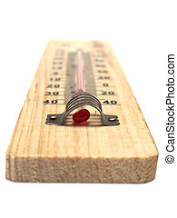 Front view of wooden thermometer isolated on white background