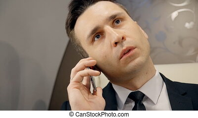 Front view of young lawyer chief businessman making call...