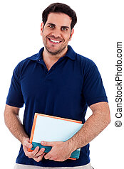 young man holding notepad