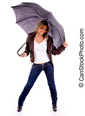 front view of young woman holding umbrella