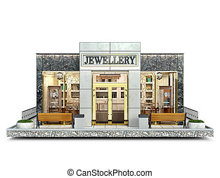 Front view on a jewellery shop building on a piece of ground, 3d iilustration