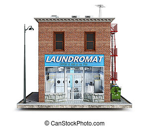 Front view on a laundromat building on a piece of ground, 3d illustration