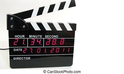 Front view on electronic clapboard, time lapse