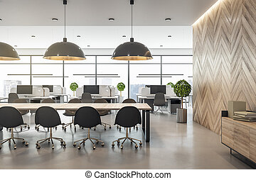 Front view on light conference table in modern coworking office with wooden furniture and wall and city view