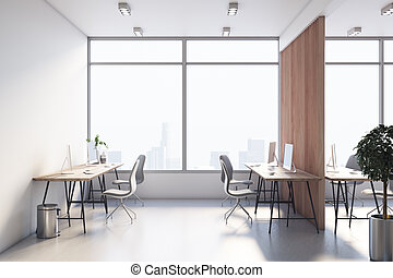 Front view on modern office room with eco style interior design, huge window with city view, wooden tables and concrete floor