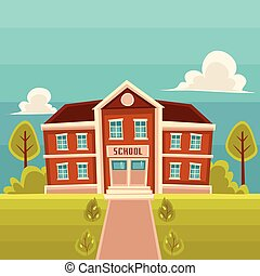 Front view school building cartoon vector illustration
