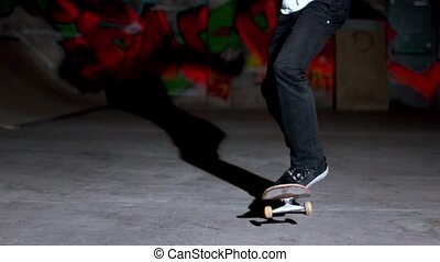 Front view skater double kickflip