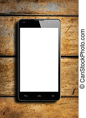Front view smartphone on wooden rustic table