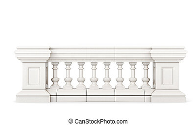 Front view stone balustrade on white background. 3d rendering