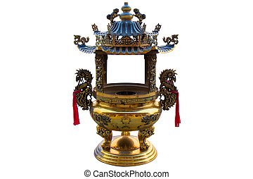Front view the Antique brass incense burner on isolated on white background.