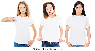 front view women in white t-shirt isolated on white background, asian, korean caucasian woman in tshirt, girl t shirt