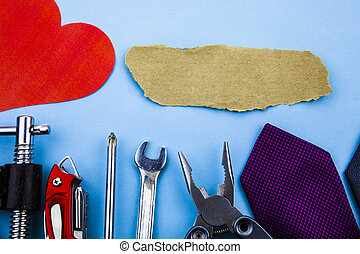 Front view working tools. Wrench clamps screwdriver tie paper heart piece sandpaper. Good advertisement House Repair. Man repairing damages at home construction