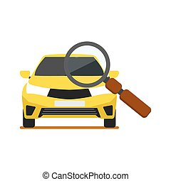 Front View Yellow Car With Magnifier Icon