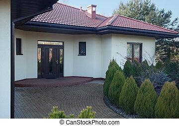 front, von, parter, landhaus
