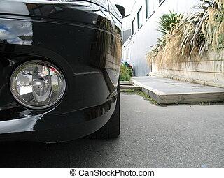 front, von, schwarz, auto, auf, straße, (close, up)