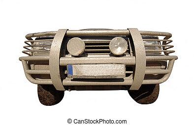 front, von, straßenauto, oder, suv., breit, ansicht, freigestellt