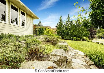 Front yard landscape design with rocks