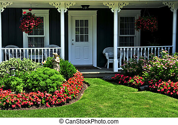 Front yard of a house - Landscaped front yard of a house ...