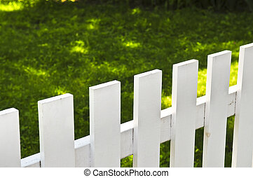 Front yard with white fence - White fence around front yard...