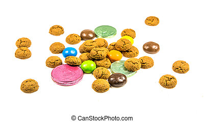 frontal, biscuits, chocolat, bonbons, argent, tas, ...