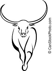 Frontal bull walking isolated on white background. Vector...