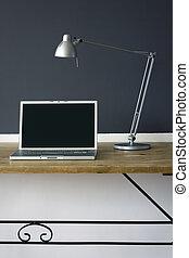 frontal, bureau maison, bureau