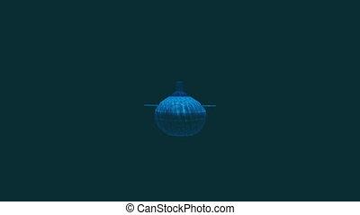 frontal, eau profonde, sous-marin, russe, vue