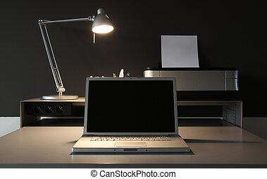 frontal, escritório lar, escrivaninha, whit, lâmpada