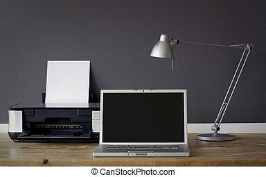 frontal, kontor til hjem, skrivebord