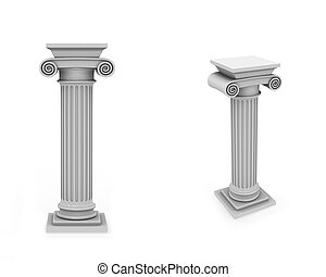 frontal, mármol, columnas, diagonal