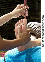 frontal, madeira, vara, sinuses, caminhe massagem