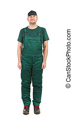 frontal Man in green  overalls on a white background