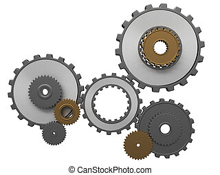 Isolated 3d render of metalllic gears and pinions.